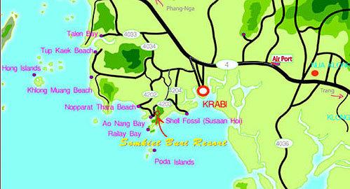 Carte Thailande Krabi.Somkiet Buri Resort Spa Krabi Hotel Thailand Limited